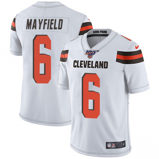Men's Cleveland Browns 100th #6 Baker Mayfield White NFL Vapor Untouchable Limited Stitched Jersey