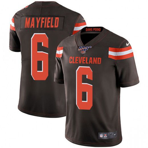 Men's Cleveland Browns 100th #6 Baker Mayfield Brown NFL Vapor Untouchable Limited Stitched Jersey