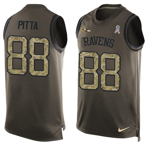 Nike Ravens #88 Dennis Pitta Green Men's Stitched NFL Limited Salute To Service Tank Top Jersey