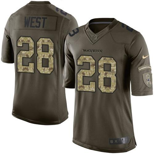 Nike Ravens #28 Terrance West Green Men's Stitched NFL Limited Salute to Service Jersey