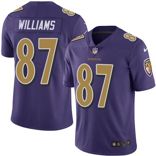 Nike Ravens #87 Maxx Williams Purple Men's Stitched NFL Limited Rush Jersey