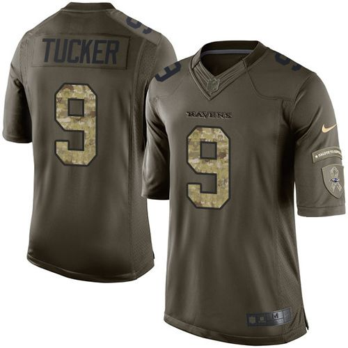 Nike Ravens #9 Justin Tucker Green Men's Stitched NFL Limited Salute to Service Jersey