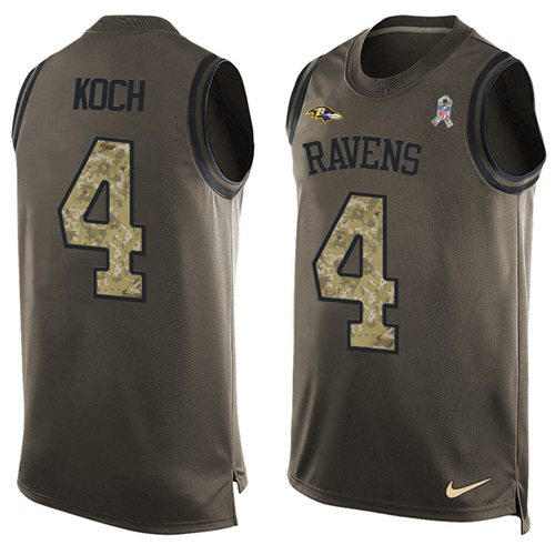 Nike Ravens #4 Sam Koch Green Men's Stitched NFL Limited Salute To Service Tank Top Jersey