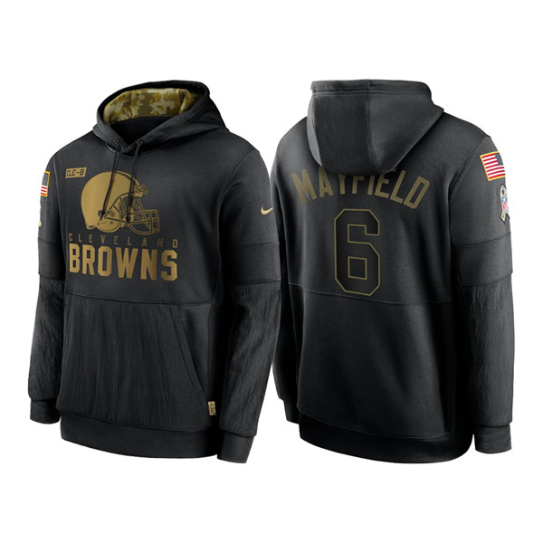 Men's Cleveland Browns #6 Baker Mayfield 2020 Black Salute to Service Sideline Performance Pullover Hoodie