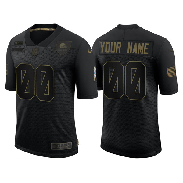 Men's Cleveland Browns ACTIVE PLAYER Custom 2020 Black Salute To Service Limited Stitched NFL Jersey