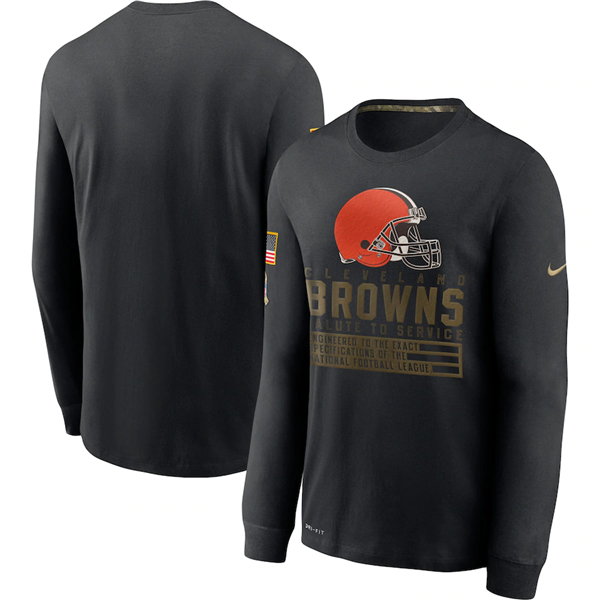 Men's Cleveland Browns 2020 Black Salute To Service Sideline Performance Long Sleeve NFL T-Shirt