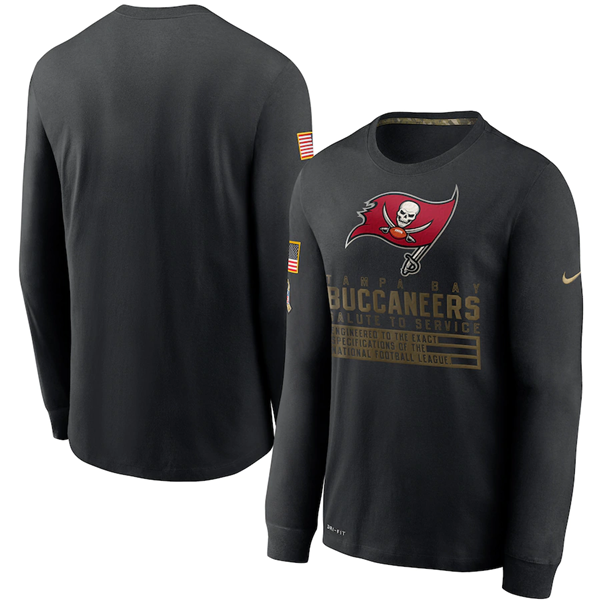 Men's Tampa Bay Buccaneers 2020 Black Salute To Service Sideline Performance Long Sleeve NFL T-Shirt