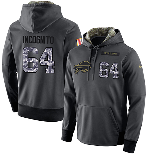 NFL Men's Nike Buffalo Bills #64 Richie Incognito Stitched Black Anthracite Salute to Service Player Performance Hoodie