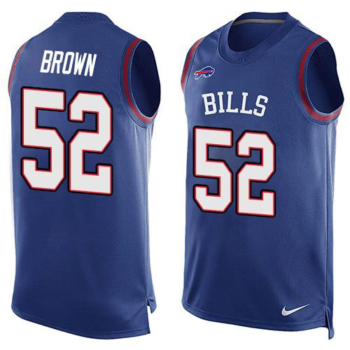 Nike Bills #52 Preston Brown Royal Blue Team Color Men's Stitched NFL Limited Tank Top Jersey