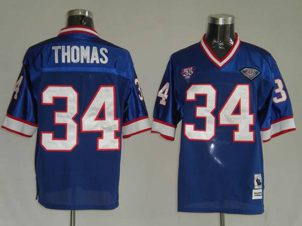 Mitchell & Ness Bills #34 Custom Thurman Thomas Blue 35th Anniversary Patch Stitched Throwback NFL Jersey