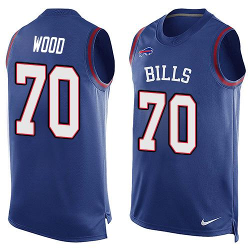 Nike Bills #70 Eric Wood Royal Blue Team Color Men's Stitched NFL Limited Tank Top Jersey