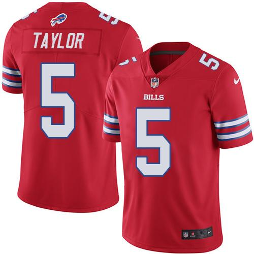 Nike Bills #5 Tyrod Taylor Red Men's Stitched NFL Elite Rush Jersey