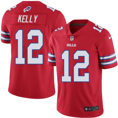 Nike Bills #12 Jim Kelly Red Men's Stitched NFL Elite Rush Jersey