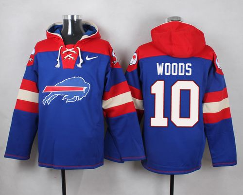 Nike Bills #10 Robert Woods Royal Blue Player Pullover NFL Hoodie