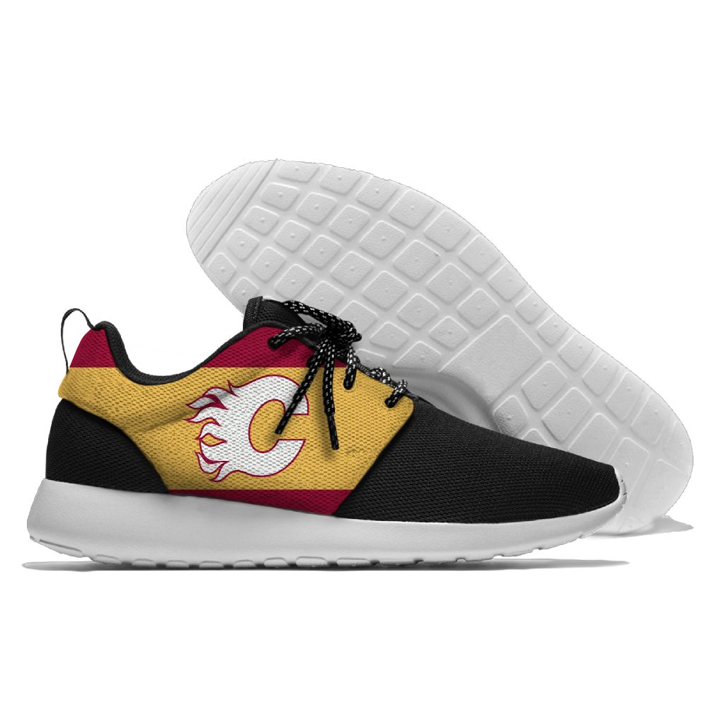 Women's NHL Calgary Flames Roshe Style Lightweight Running Shoes 003
