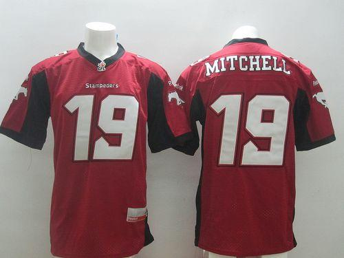 Stampeders #19 Bo Levi Mitchell Red Stitched CFL Jersey