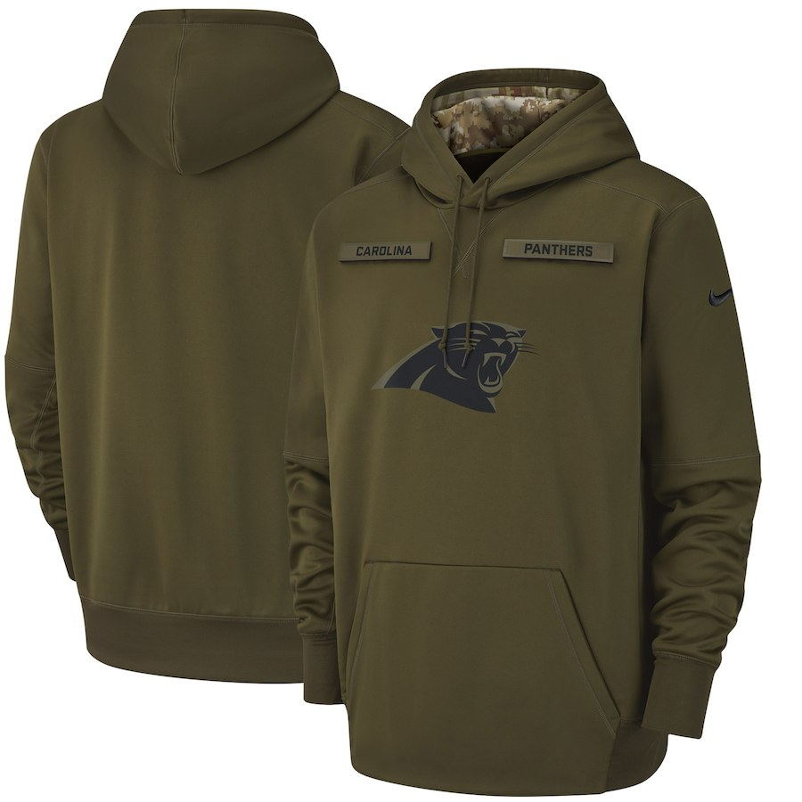 Men's Carolina Panthers Olive Salute to Service Sideline Therma Performance Pullover 2018 NFL Hoodie
