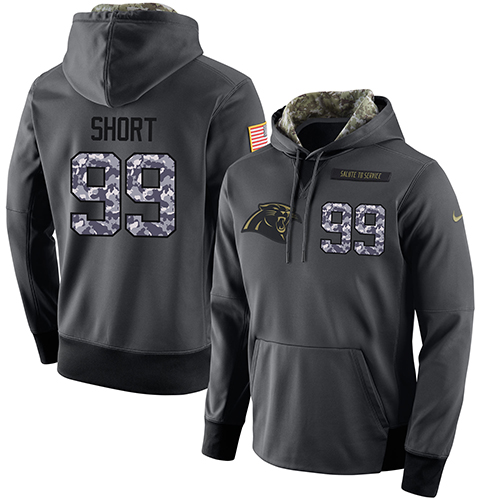 NFL Men's Nike Carolina Panthers #99 Kawann Short Stitched Black Anthracite Salute to Service Player Performance Hoodie