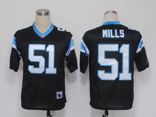 Mitchell And Ness Panthers #51 Sam Mills Black Stitched NFL Jersey