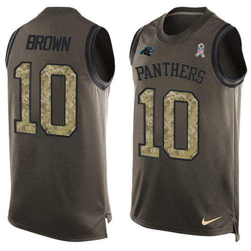 Nike Panthers #10 Corey Brown Green Men's Stitched NFL Limited Salute To Service Tank Top Jersey