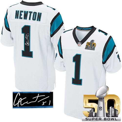Nike Panthers #1 Cam Newton White Super Bowl 50 Men's Stitched NFL Elite Autographed Jersey