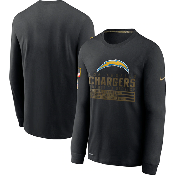 Men's Los Angeles Chargers 2020 Black Salute To Service Sideline Performance Long Sleeve NFL T-Shirt