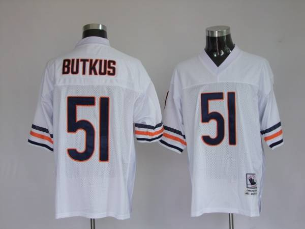 Mitchell & Ness Bears #51 Dick Butkus White Stitched Throwback NFL Jersey