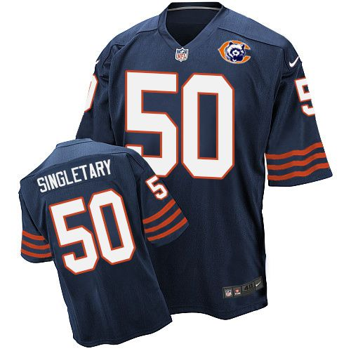Nike Bears #50 Mike Singletary Navy Blue Throwback Men's Stitched NFL Elite Jersey