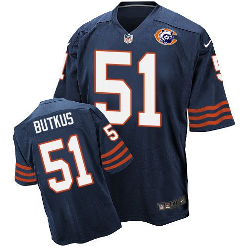 Nike Bears #51 Dick Butkus Navy Blue Throwback Men's Stitched NFL Elite Jersey