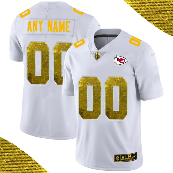 Men's Kansas City Chiefs ACTIVE PLAYER White Custom Gold Fashion Edition Limited Stitched NFL Jersey