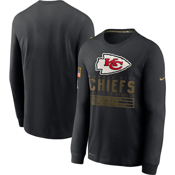 Men's Kansas City Chiefs 2020 Black Salute To Service Sideline Performance Long Sleeve NFL T-Shirt