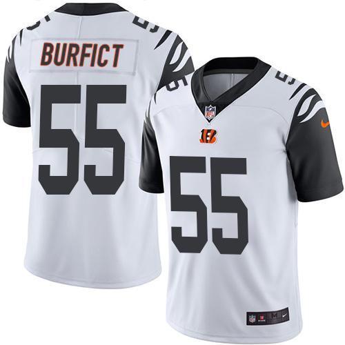 Nike Bengals #55 Vontaze Burfict White Men's Stitched NFL Limited Rush Jersey