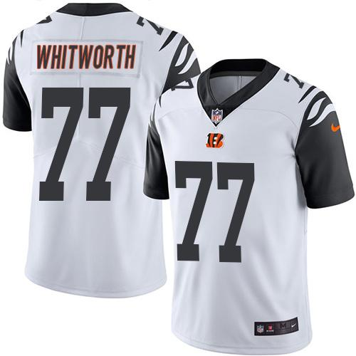 Nike Bengals #77 Andrew Whitworth White Men's Stitched NFL Limited Rush Jersey