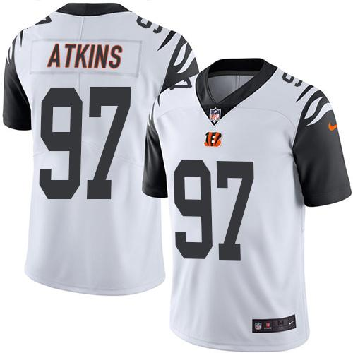 Nike Bengals #97 Geno Atkins White Men's Stitched NFL Limited Rush Jersey
