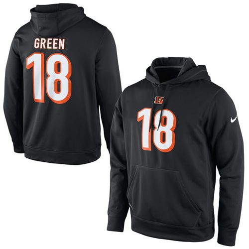 Nike Bengals #18 A.J. Green Black Player Pullover Performance NFL Hoodie