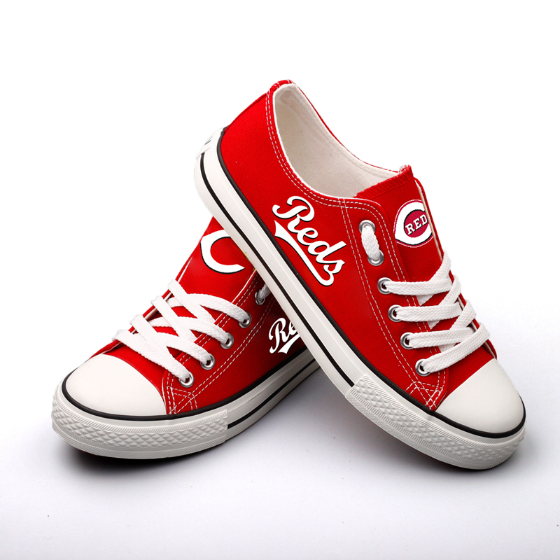 All Sizes MLB Cincinnati Reds Repeat Print Low Top Sneakers 002