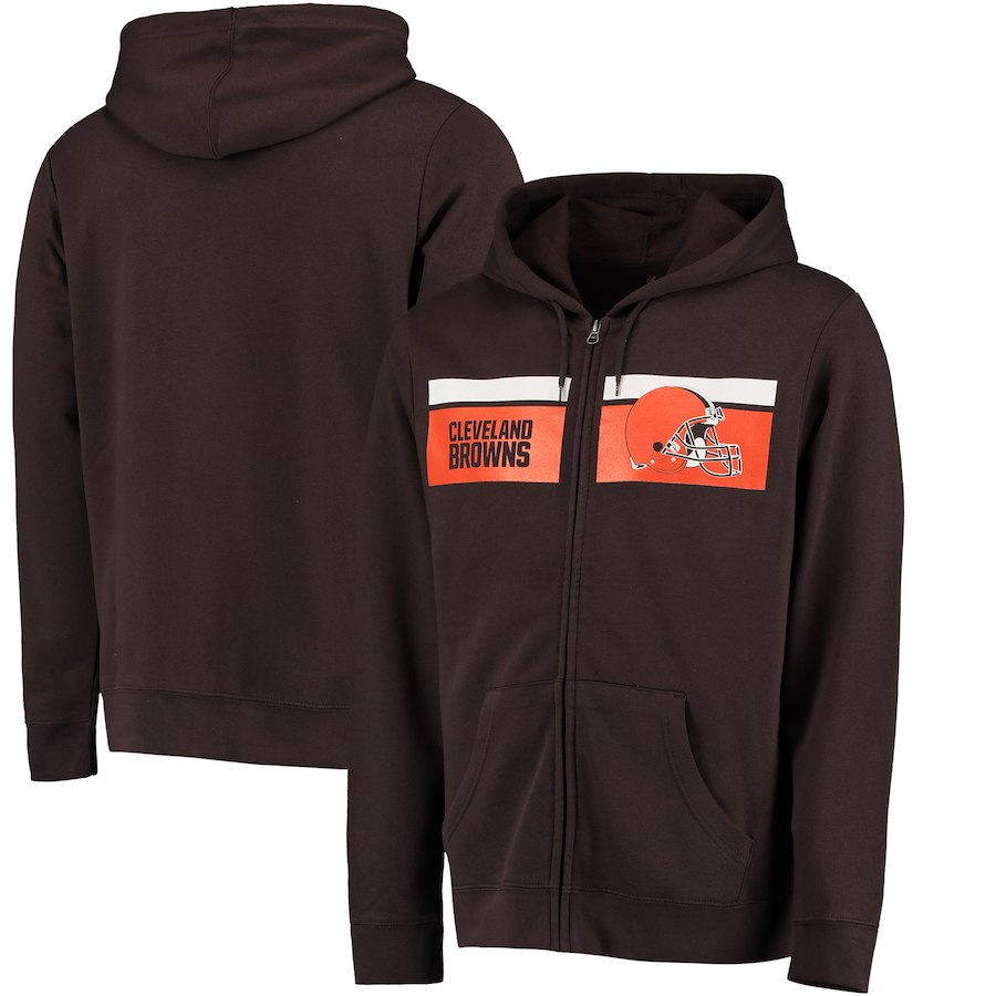 Men's Cleveland Browns Brown Majestic Touchback Full-Zip 2018 NFL Hoodie