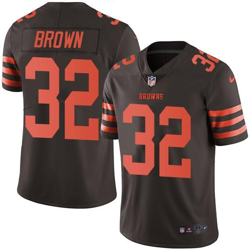 Nike Browns #32 Jim Brown Brown Men's Stitched NFL Limited Rush Jersey