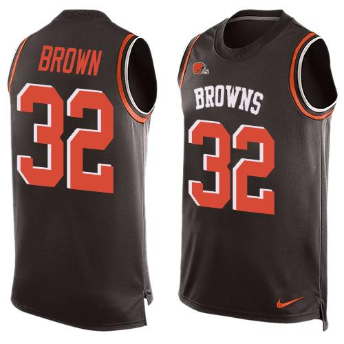Nike Browns #32 Jim Brown Brown Team Color Men's Stitched NFL Limited Tank Top Jersey
