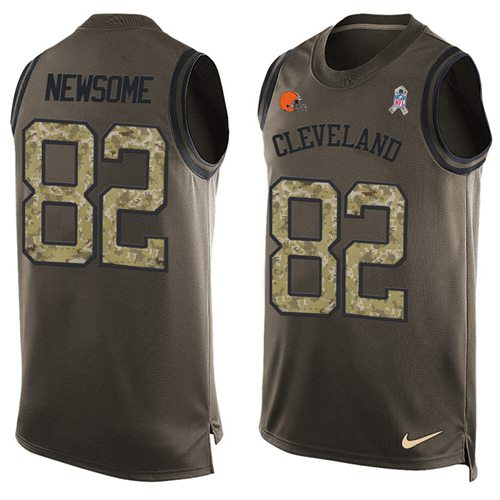 Nike Browns #82 Ozzie Newsome Green Men's Stitched NFL Limited Salute To Service Tank Top Jersey