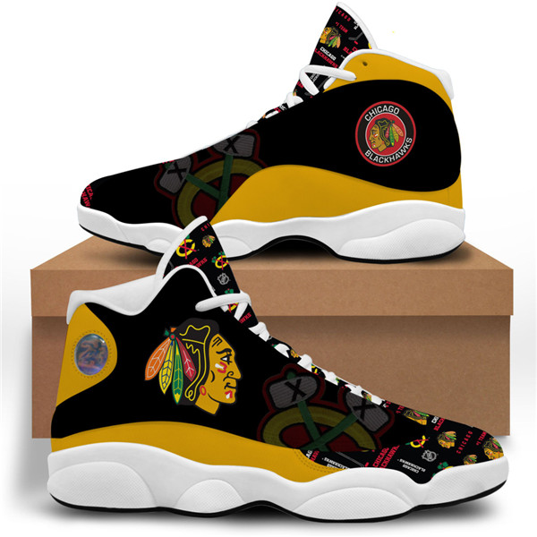 Men's Chicago Blackhawks AJ13 Series High Top Leather Sneakers 001