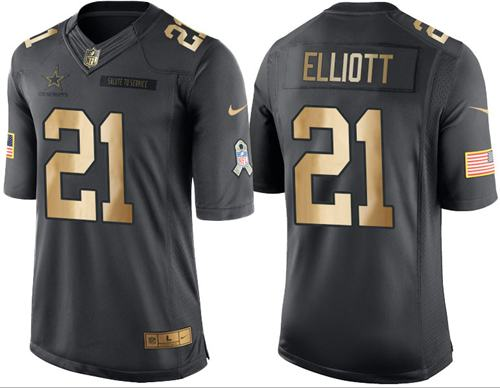 Nike Cowboys #21 Ezekiel Elliott Black Men's Stitched NFL Limited Gold Salute To Service Jersey