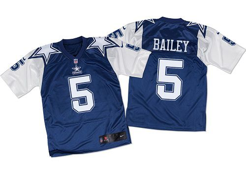 Nike Cowboys #5 Dan Bailey Navy Blue/White Throwback Men's Stitched NFL Elite Jersey