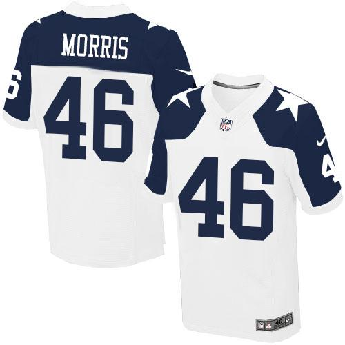 Nike Cowboys #46 Alfred Morris White Thanksgiving Men's Stitched NFL Throwback Elite Jersey
