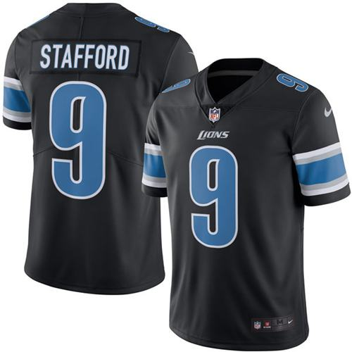 Nike Lions #9 Matthew Stafford Black Men's Stitched NFL Limited Rush Jersey