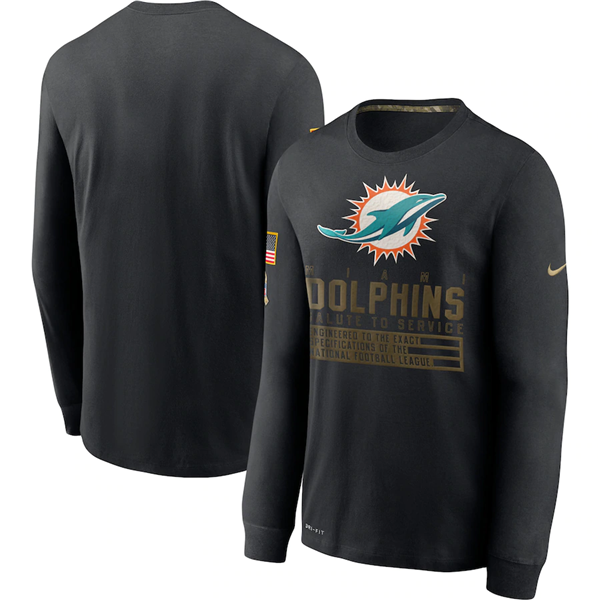 Men's Miami Dolphins 2020 Black Salute To Service Sideline Performance Long Sleeve NFL T-Shirt
