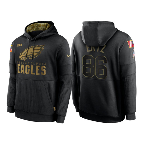 Men's Philadelphia Eagles #86 Zach Ertz 2020 Black Salute to Service Sideline Performance Pullover Hoodie