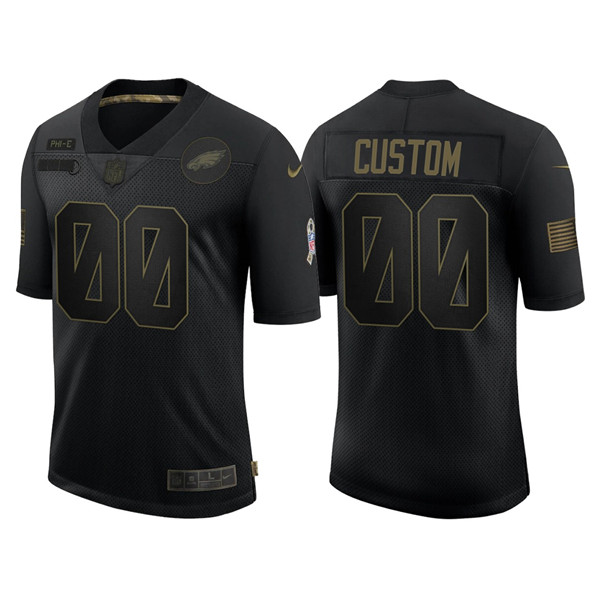 Men's Philadelphia Eagles ACTIVE PLAYER Custom 2020 Black Salute To Service Limited Stitched NFL Jersey