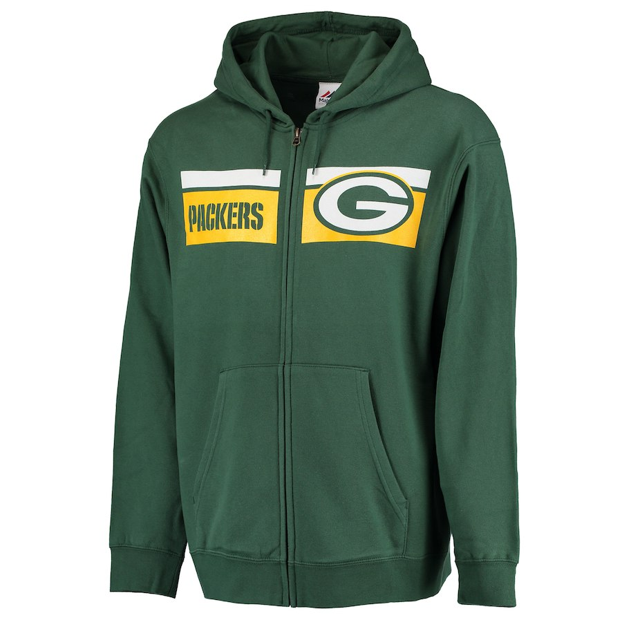 Men's Green Bay Packers Green Majestic Touchback Full-Zip 2018 NFL Hoodie