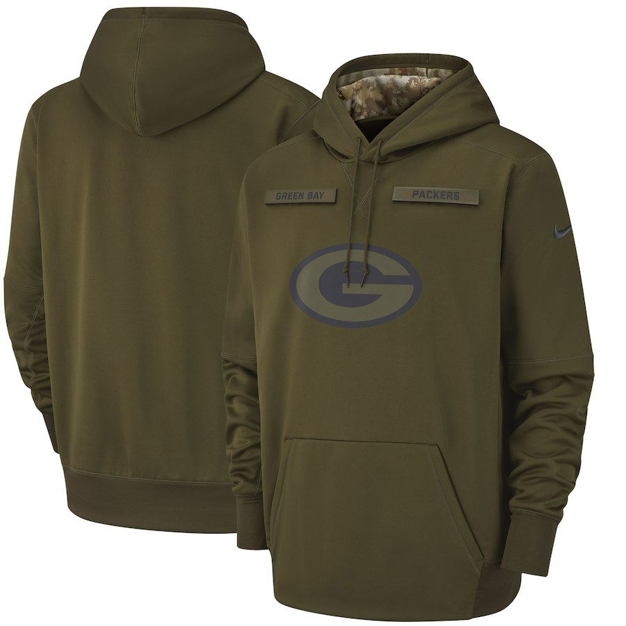 Men's Green Bay Packers Olive Salute to Service Sideline Therma Performance Pullover 2018 NFL Hoodie